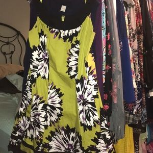 Kim Rogers Woman Lime Green Abstract Flower Dress